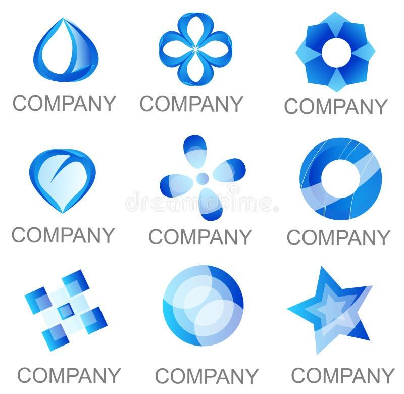 Abstract Blue Company Logo Set Icons libre illustration