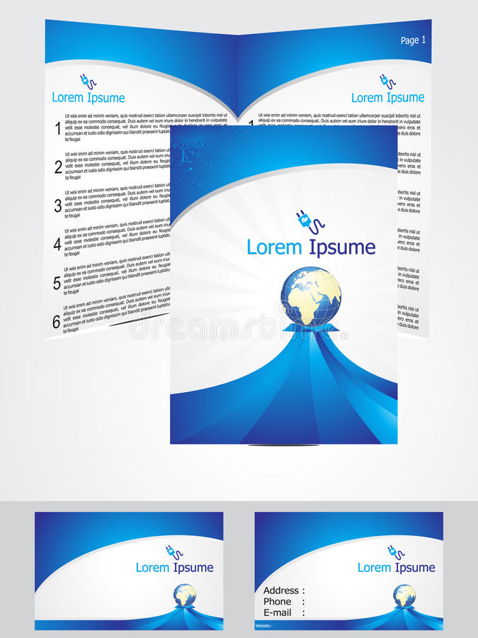 Abstract blue corporate id template stock illustration