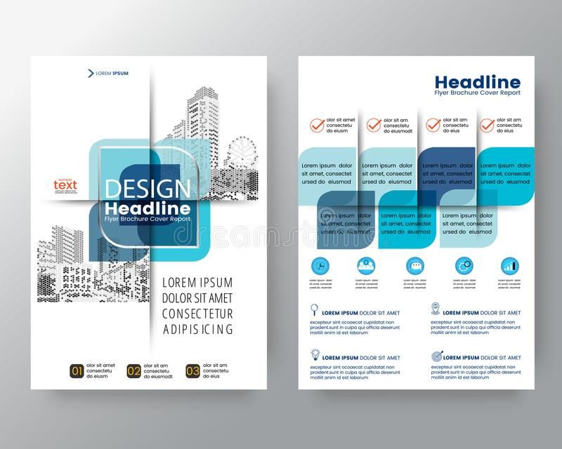 Abstract blue cross graphic element Vector brochure cover flyer poster design layout template in A4 size. stock illustration