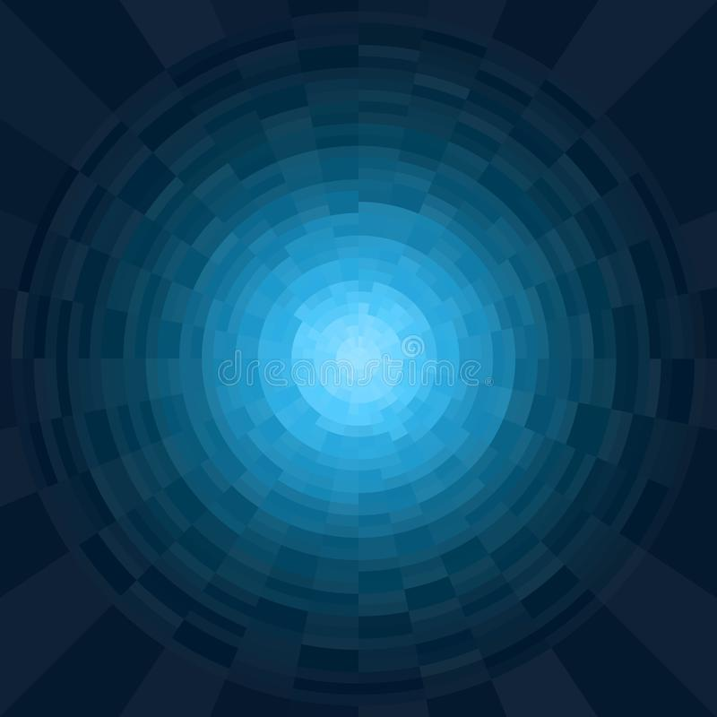 Abstract blue and cyan radial gradient background. Texture with circular pixel blocks. Vivid circle , mosaic pattern royalty free illustration