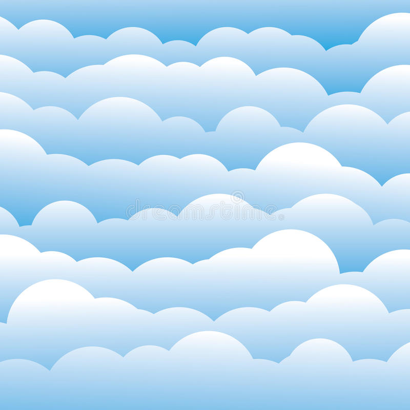 Abstract blue 3d fluffy clouds background (backdrop). Vector graphic. This illustration contains layers of clouds in light blue color vector illustration