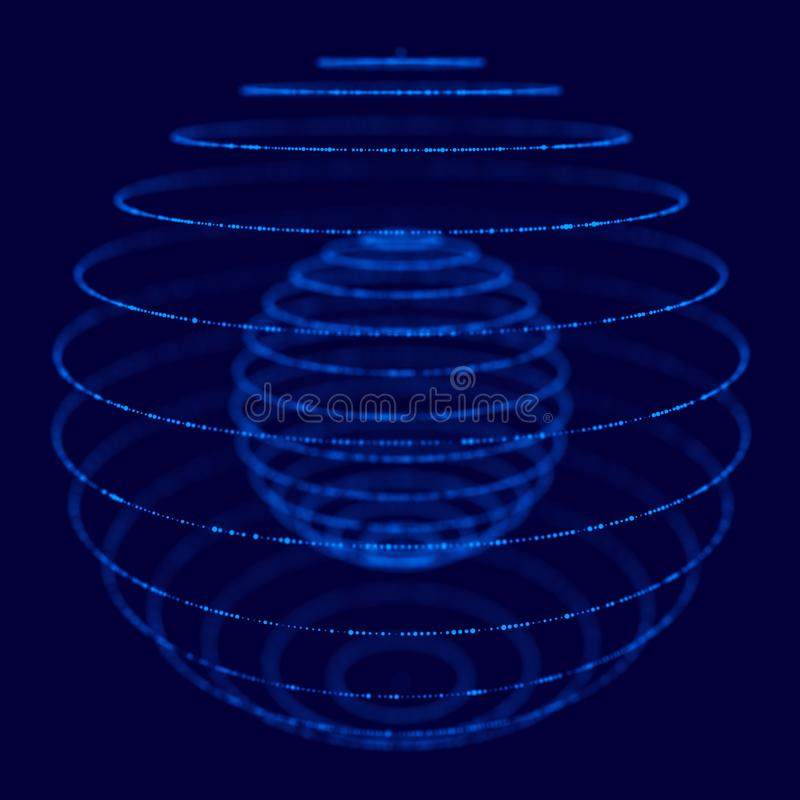 Abstract blue 3d sphere made of points. Futuristic technology style. Sphere particles. Plexus effect. 3d rendering royalty free illustration