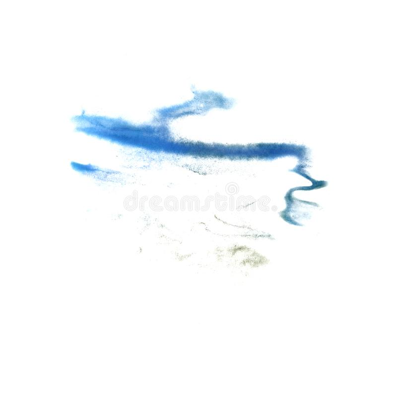 Abstract The blue drawing stroke ink watercolor brush water colo stock photos