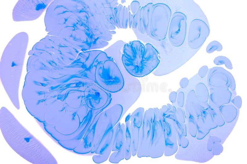 Abstract blue background white view macro microbe frost cells virus paint acrylic underwater molecule ultra marine drop blob drip. Abstract blue drops on the royalty free stock images