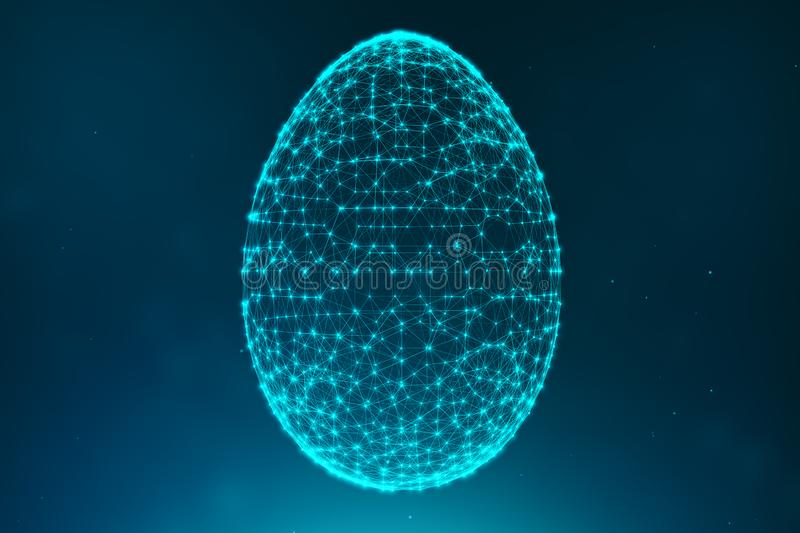 Abstract blue Easter eggs consisting of blue lines and glowing neon dots. Abstract egg triangle shape. Happy Easter Egg royalty free illustration