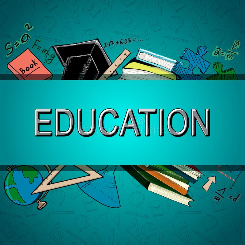 Abstract blue education background vector illustration