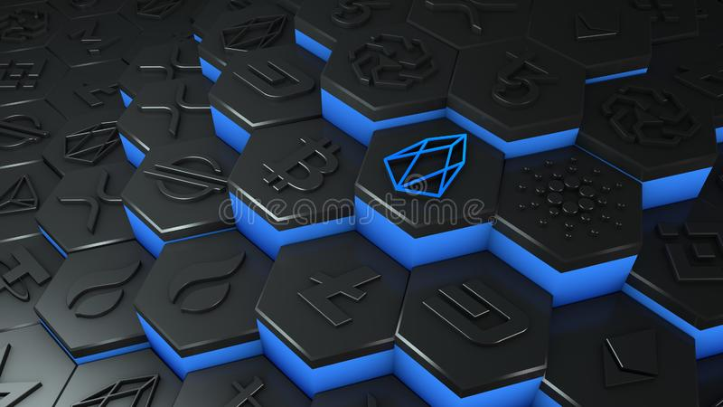 Abstract blue EOS coin cryptocurrency with blockchain network connection in blockchain conceptual 3d illustration vector illustration