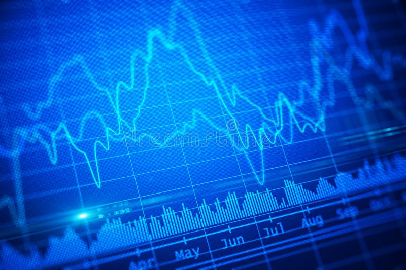 Abstract blue financial chart illustration. stock images