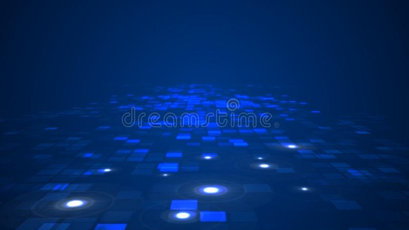Abstract blue flashing rectangle grid flowing perspective background. vector illustration