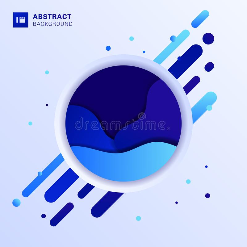 Abstract blue fluid wave design in circle with rounded lines elements and dots on white background trendy style vector illustration