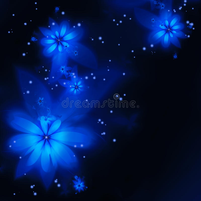 Abstract blue fractal flowers stock illustration