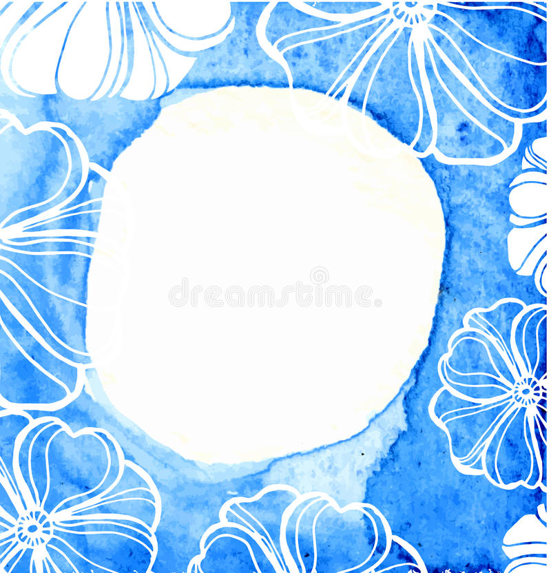 Abstract blue frame on textured watercolor paper. stock illustration