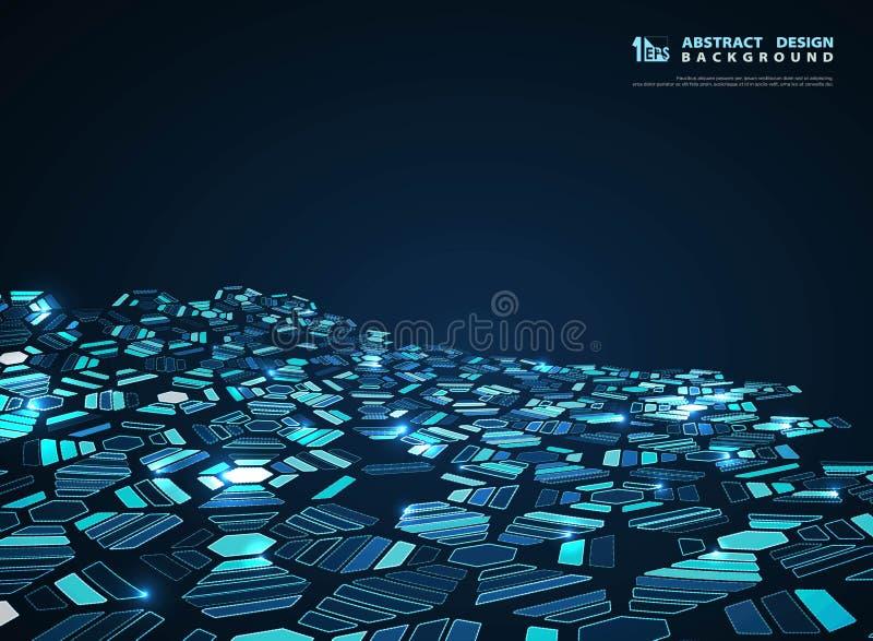 Abstract blue futuristic hexagon modern design decoration background. illustration vector eps10 royalty free illustration