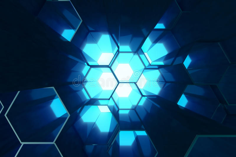 Abstract blue of futuristic surface hexagon pattern, hexagonal honeycomb with light rays, 3D Rendering royalty free illustration