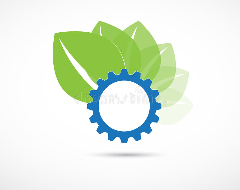 Abstract blue gear ecology business and technology computer vector background. High tech eco green infinity computer technology concept background vector illustration