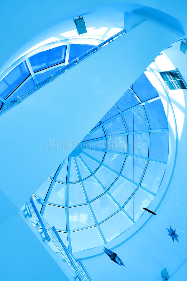 Abstract blue geometric ceiling stock photography