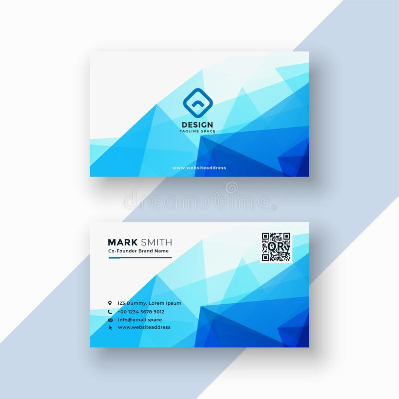 Abstract blue geometric triangle shape business card vector illustration