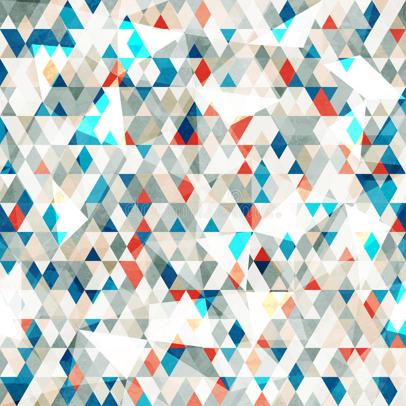 Abstract blue glass triangles seamless with grunge stock illustration