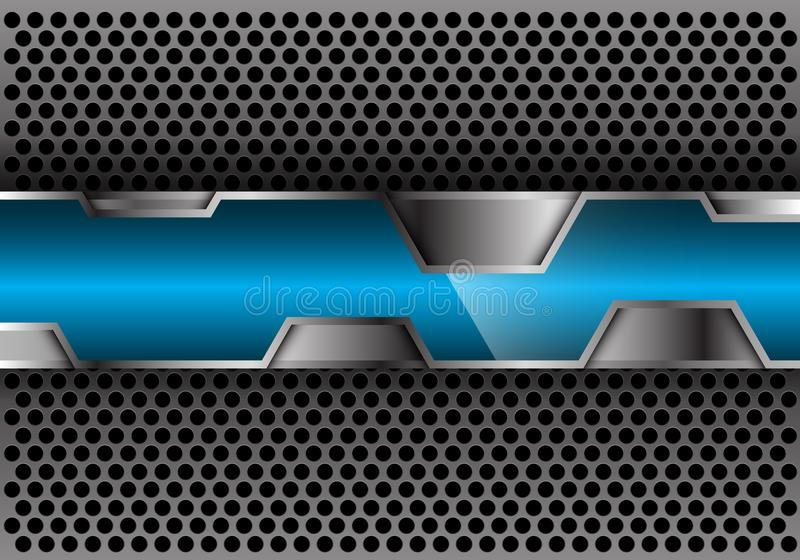 Abstract blue glossy silver polygon overlap on gray circle mesh design modern futuristic vector background vector illustration