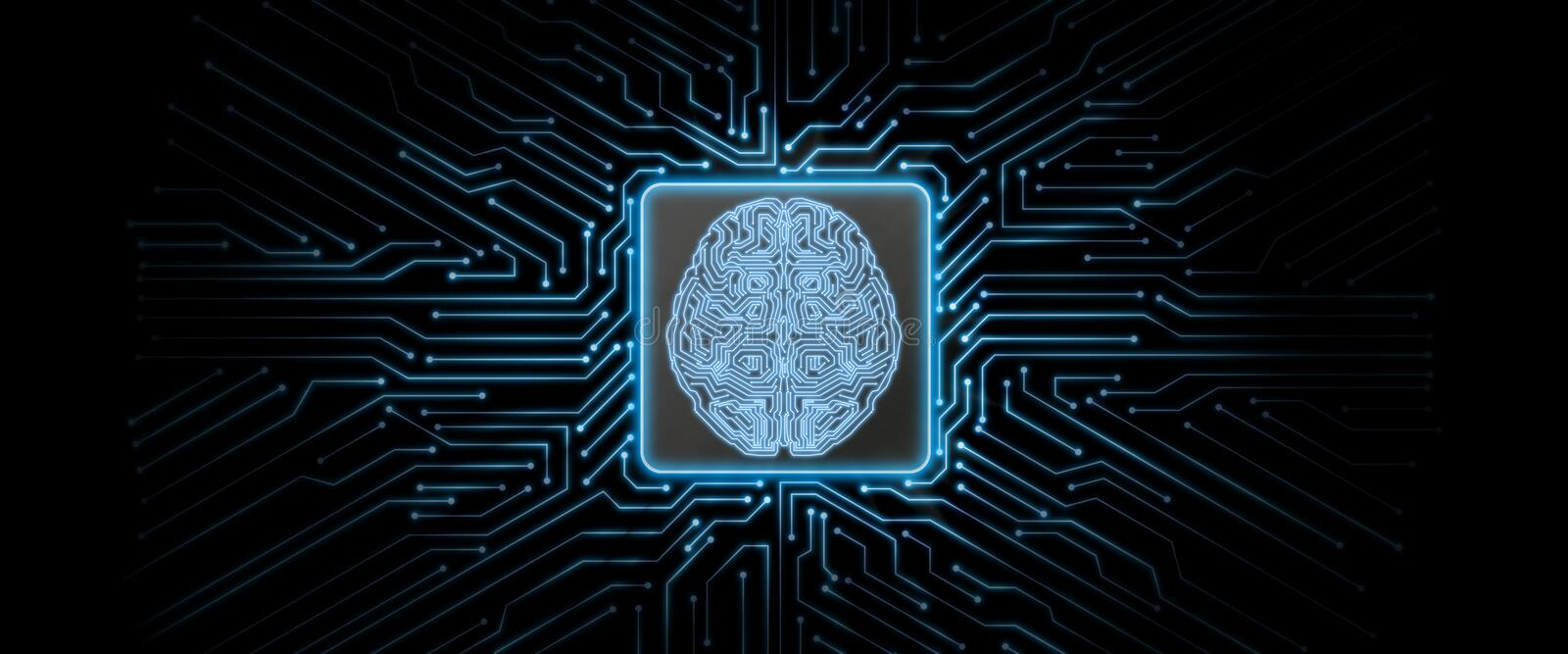 Abstract blue glowing circuit board background with brain logo at center. vector illustration