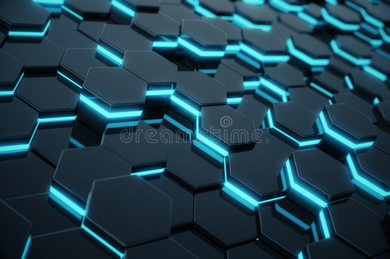 Abstract blue glowing of futuristic surface hexagon pattern. 3D Rendering stock illustration
