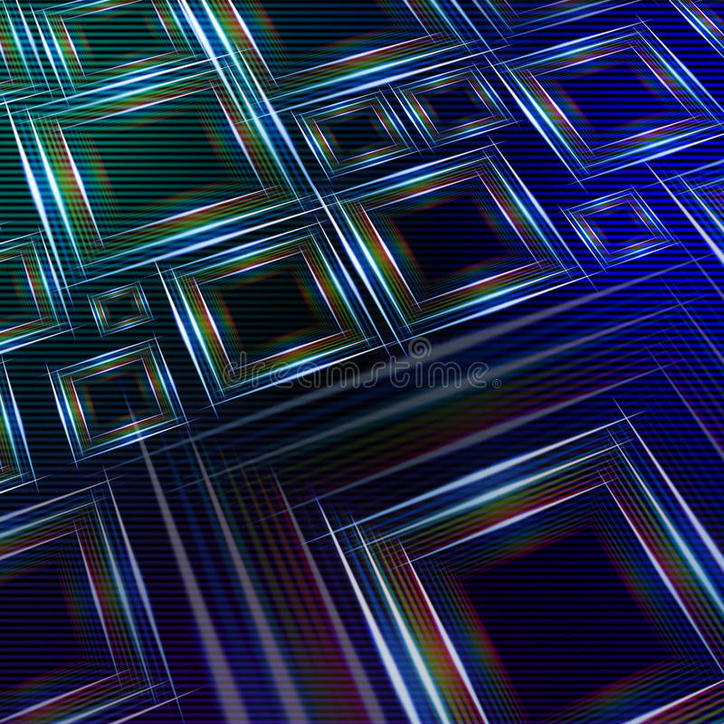 Abstract blue green background with shining multicolored squares royalty free illustration