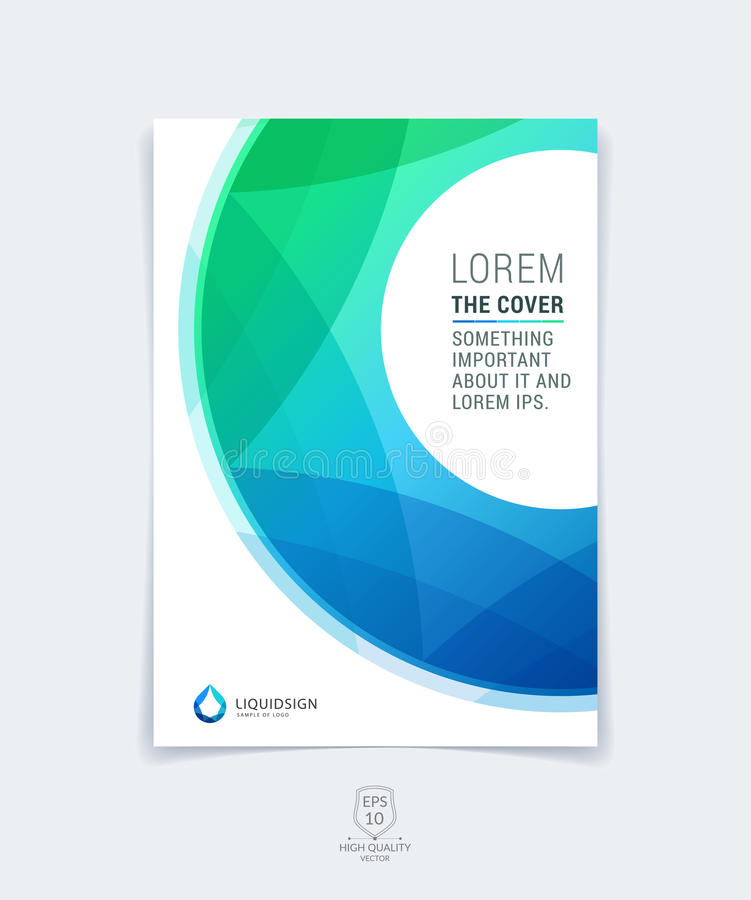 Abstract blue and green layout brochure, magazine, flyer design, cover or report in A4 with geometric round circle shapes. vector illustration