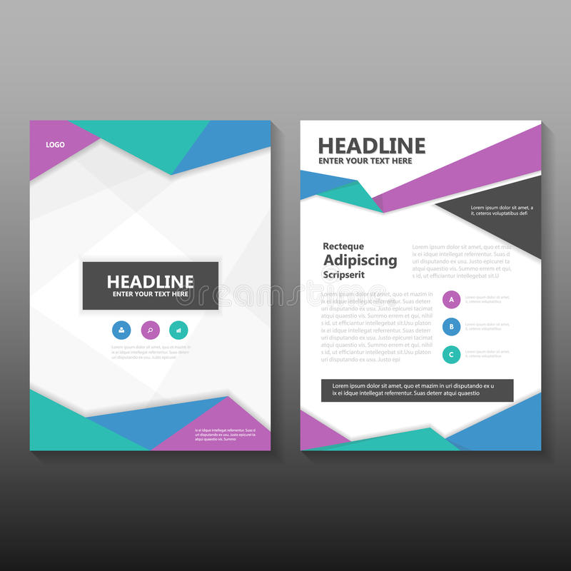 Abstract Blue green purple Vector annual report Leaflet Brochure Flyer template design, book cover layout design royalty free illustration