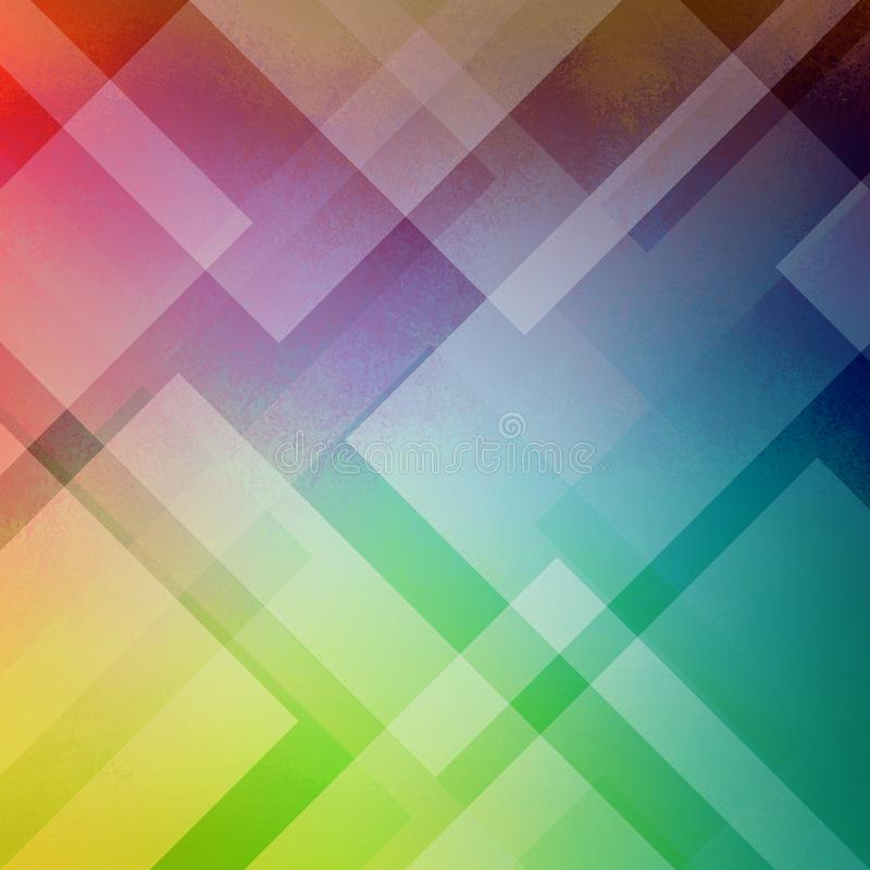 Abstract blue green red pink and purple background colors with layers of white diamond and triangle shapes in transparent design stock illustration