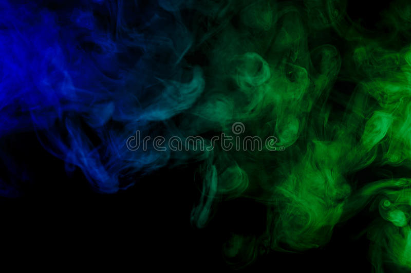 Abstract blue and green smoke hookah on a black background. stock illustration