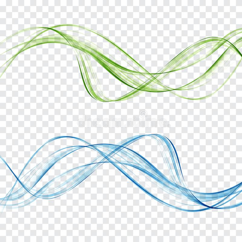 Abstract blue and green waves set on a transparent background stock illustration