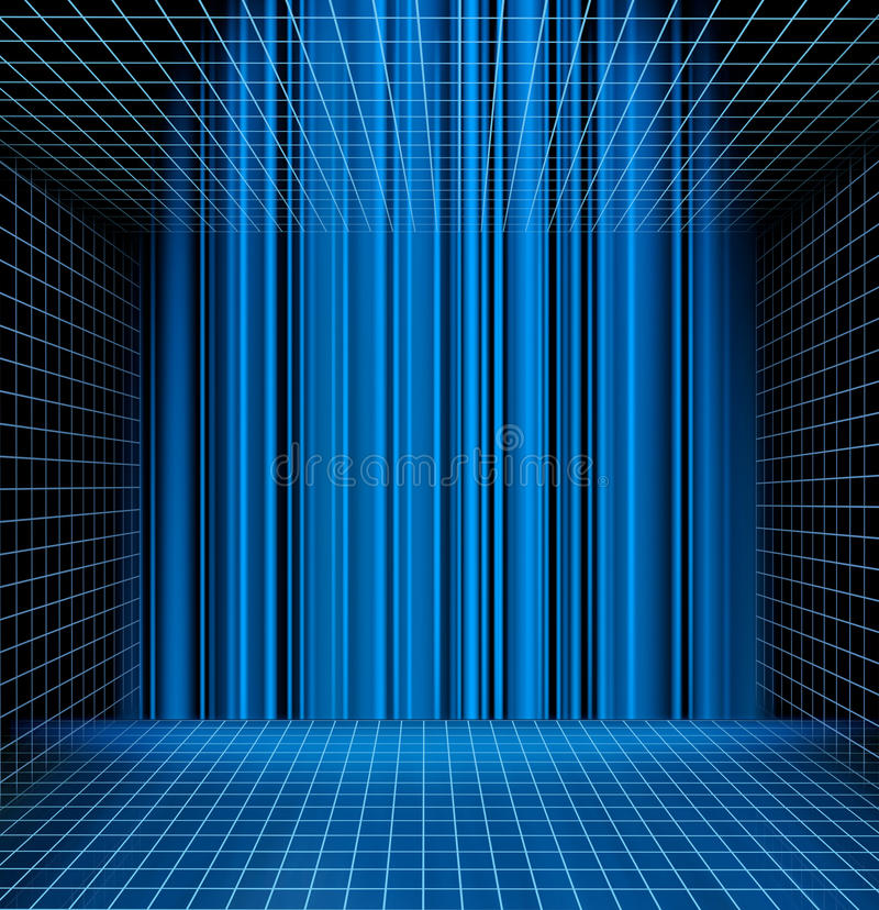 Abstract blue grid space stock illustration