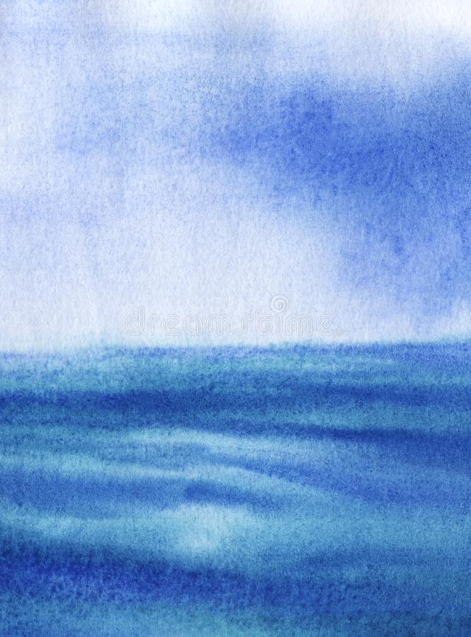 Abstract blue hand drawn background. Watercolor texture with granulation. Delicate blue calm surface of water merges with tender. Skyline with white splashes stock illustration