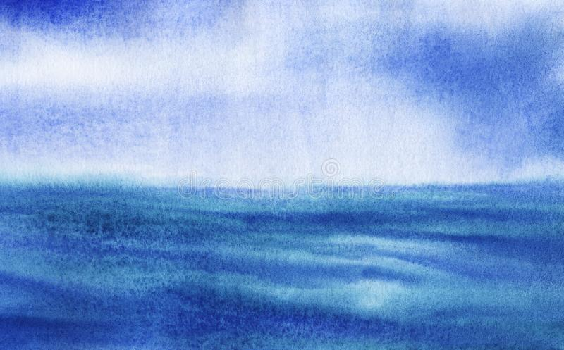 Abstract blue hand drawn background. Watercolor texture with granulation. Pastel blue calm surface of water merges with tender. Skyline. Seascape element stock photography