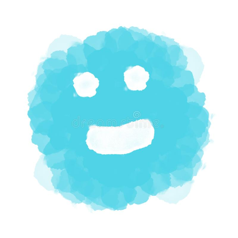 Abstract blue happy emoji/emoticon on white royalty free illustration