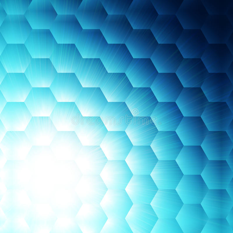 Abstract blue hexagon background royalty free illustration