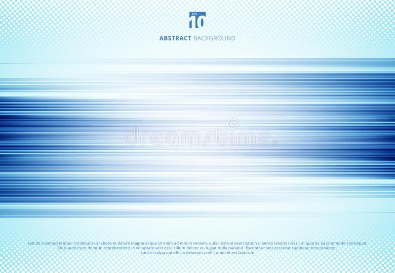 Abstract blue horizontal lines motion blur background technology style with halftone. Speed sport motion vector illustration