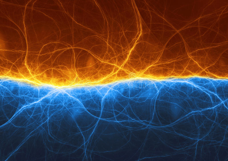 Abstract blue ice and orange fire lightning. Electric background vector illustration
