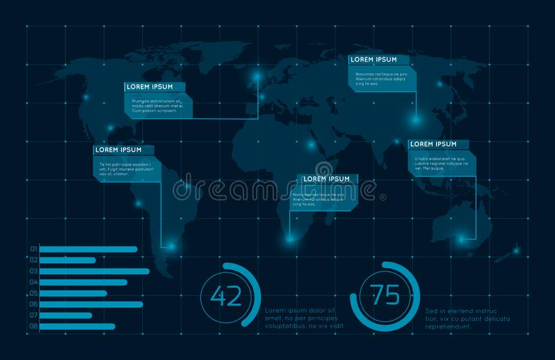 Abstract blue infographic world map vector illustration royalty free illustration