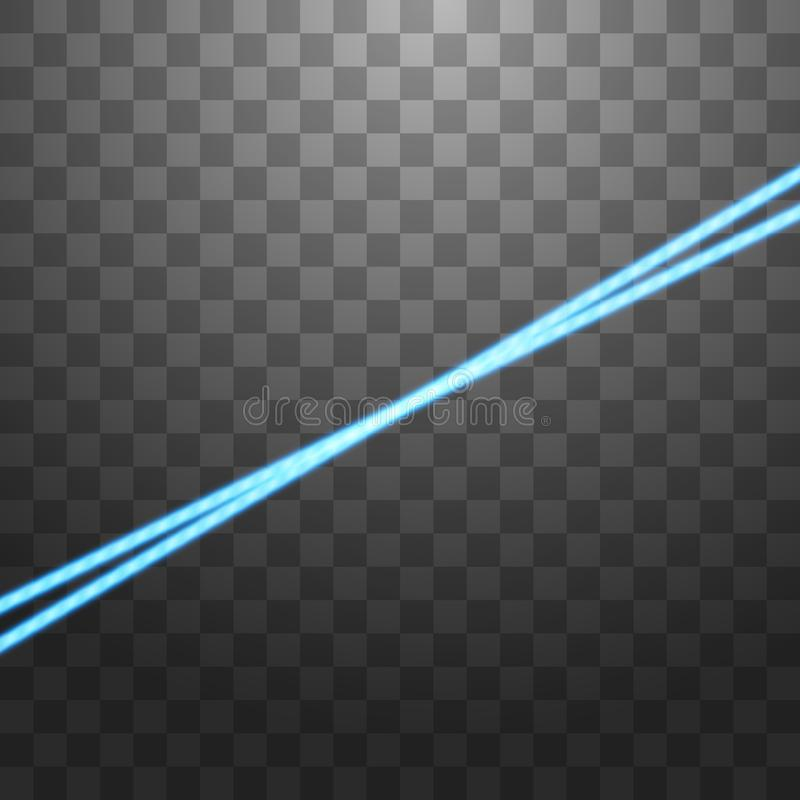 Abstract blue laser beam. Isolated on transparent black background. Vector illustration royalty free illustration