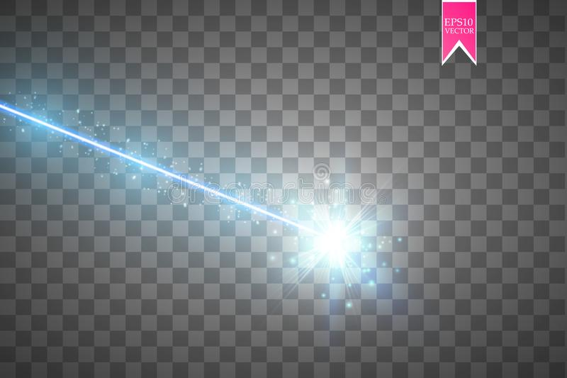 Abstract blue laser beam. Isolated on transparent black background. Vector illustration, stock illustration