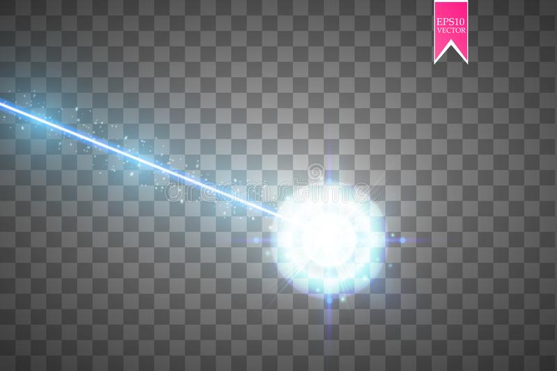 Abstract blue laser beam. Laser security beam isolated on transparent background. Light ray with glow target flash vector illustration