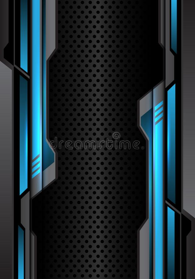 Abstract blue light dark gray futuristic on circle mesh design modern futuristic background vector. Illustration royalty free illustration