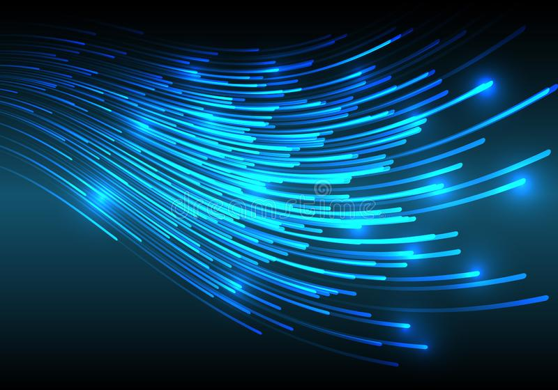 Abstract blue light fiber line network internet on black technology background vector vector illustration