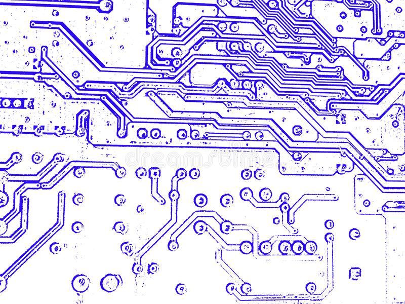 Schematic Diagram And Electronic Board Stock Photo