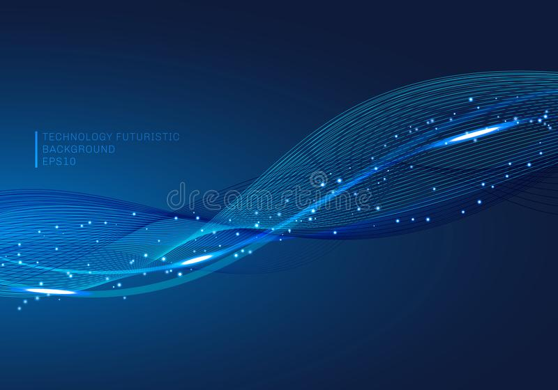 Abstract blue lines wave glowing light element digital stream series technology communication data science background stock illustration