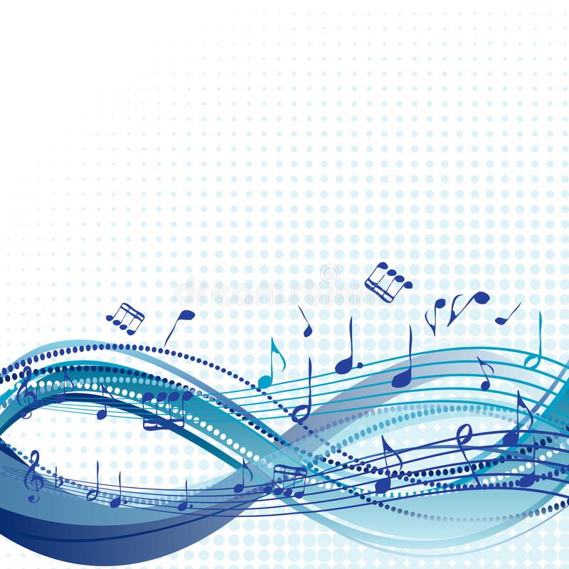 Abstract blue music background with notes vector illustration