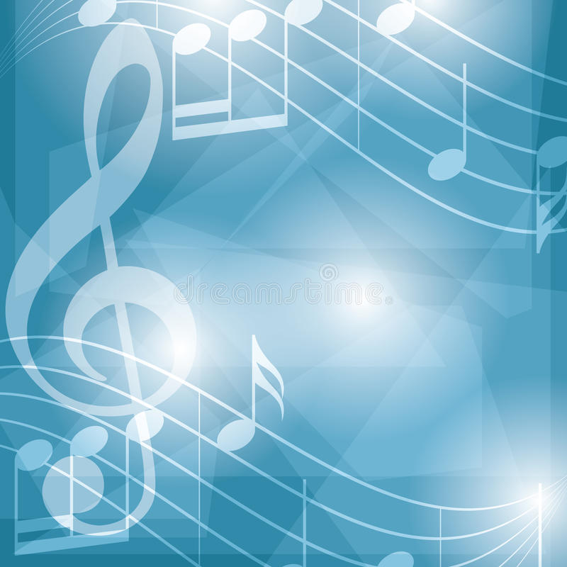 Abstract blue music vector background with notes stock illustration