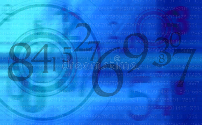 Abstract Blue numbers background stock illustration