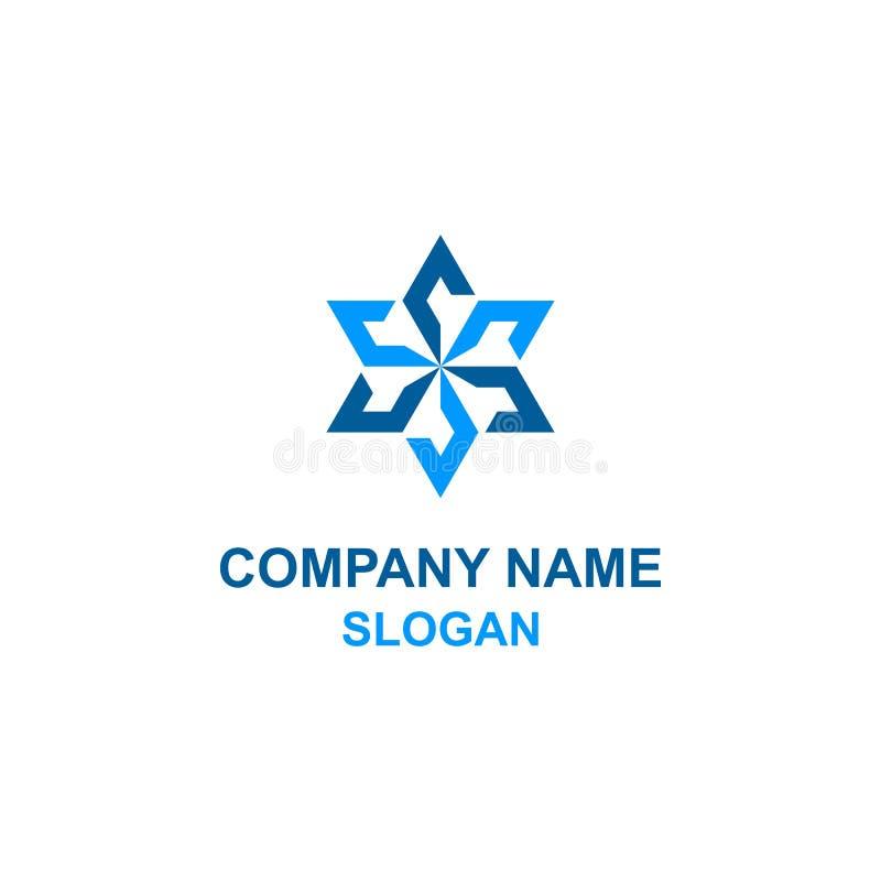 Abstract octagon star logo. Abstract blue octagon star logo vector illustration